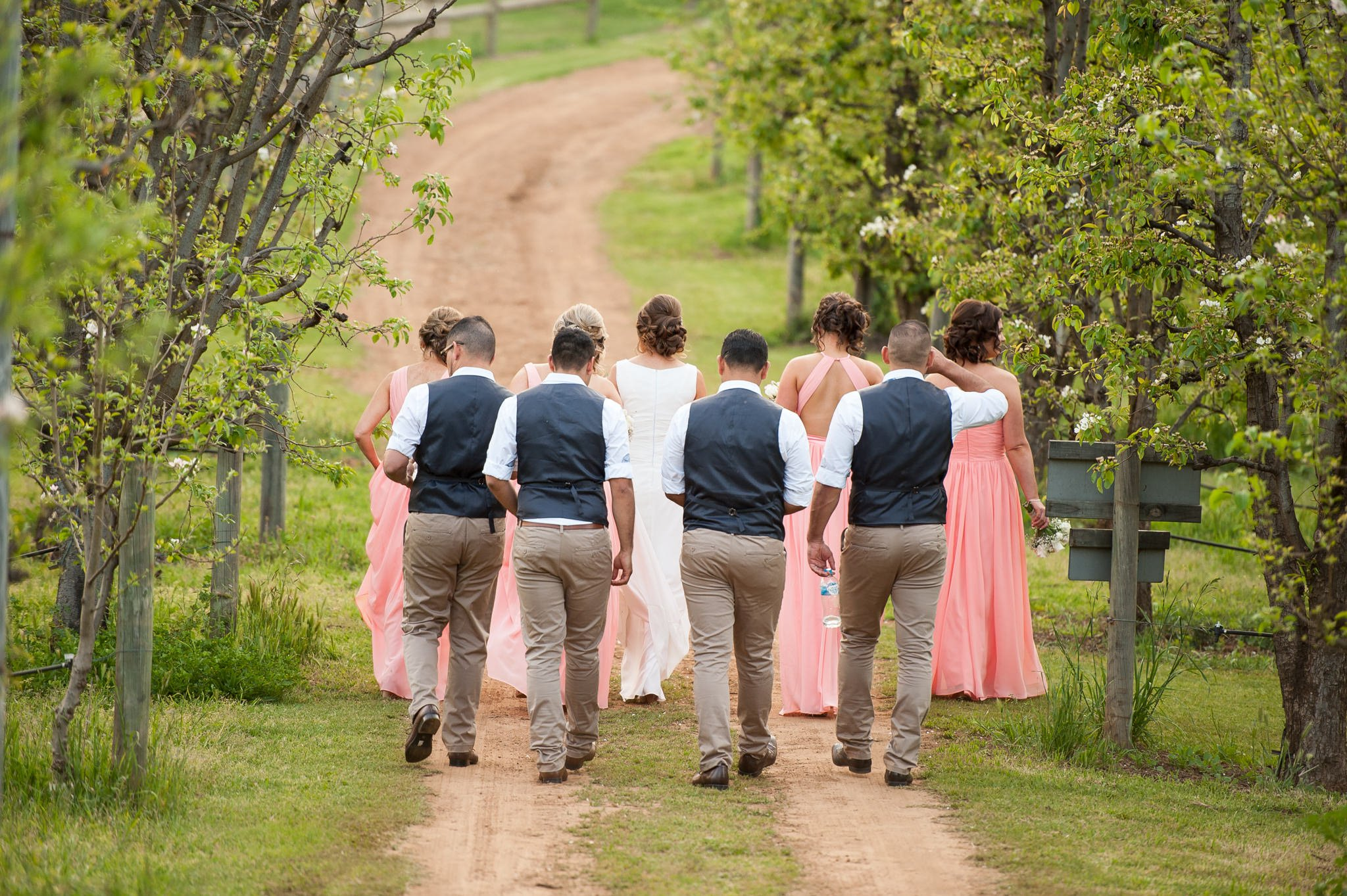 bridal party walking dirt road