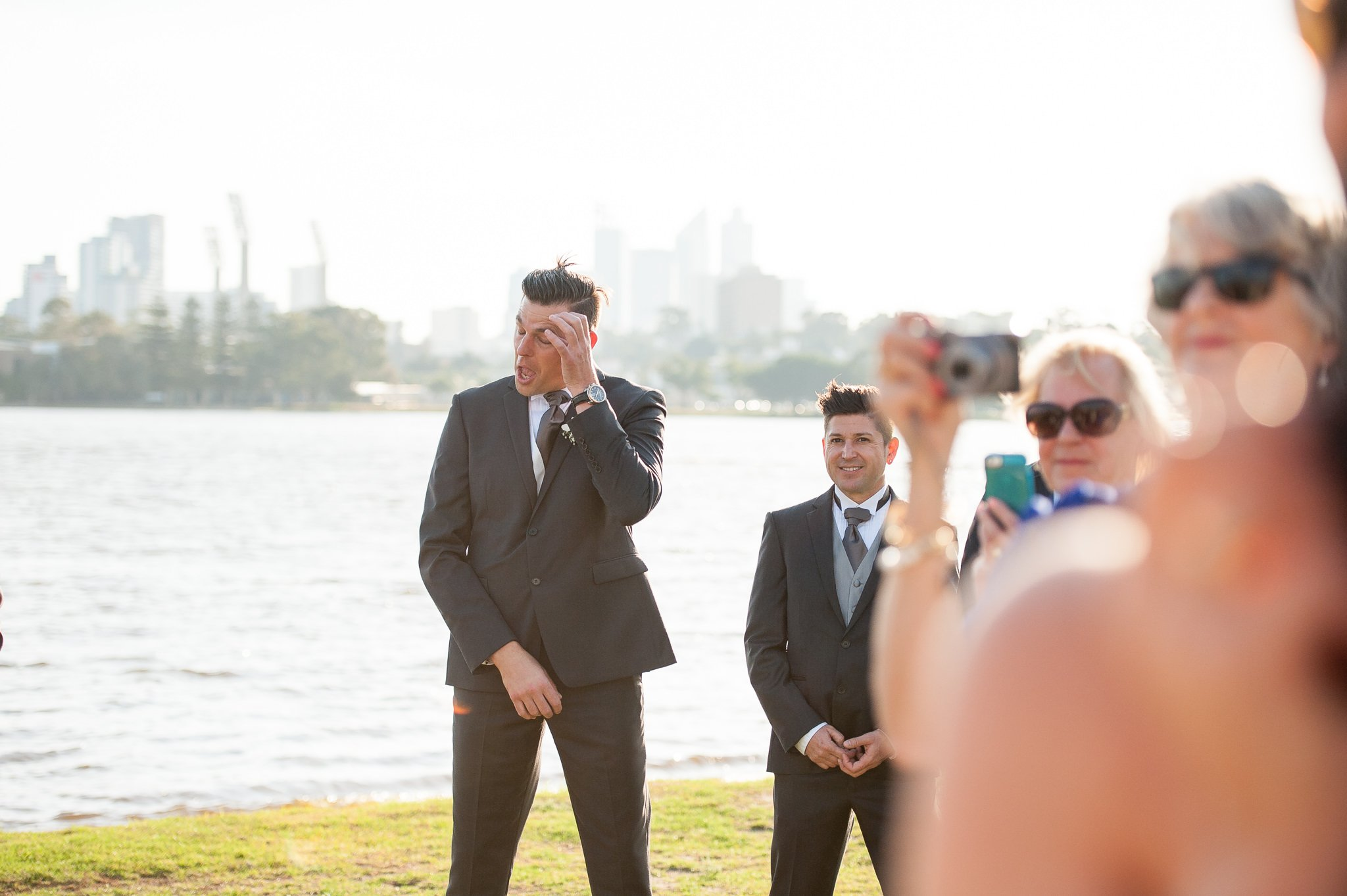groom trying to hold it together