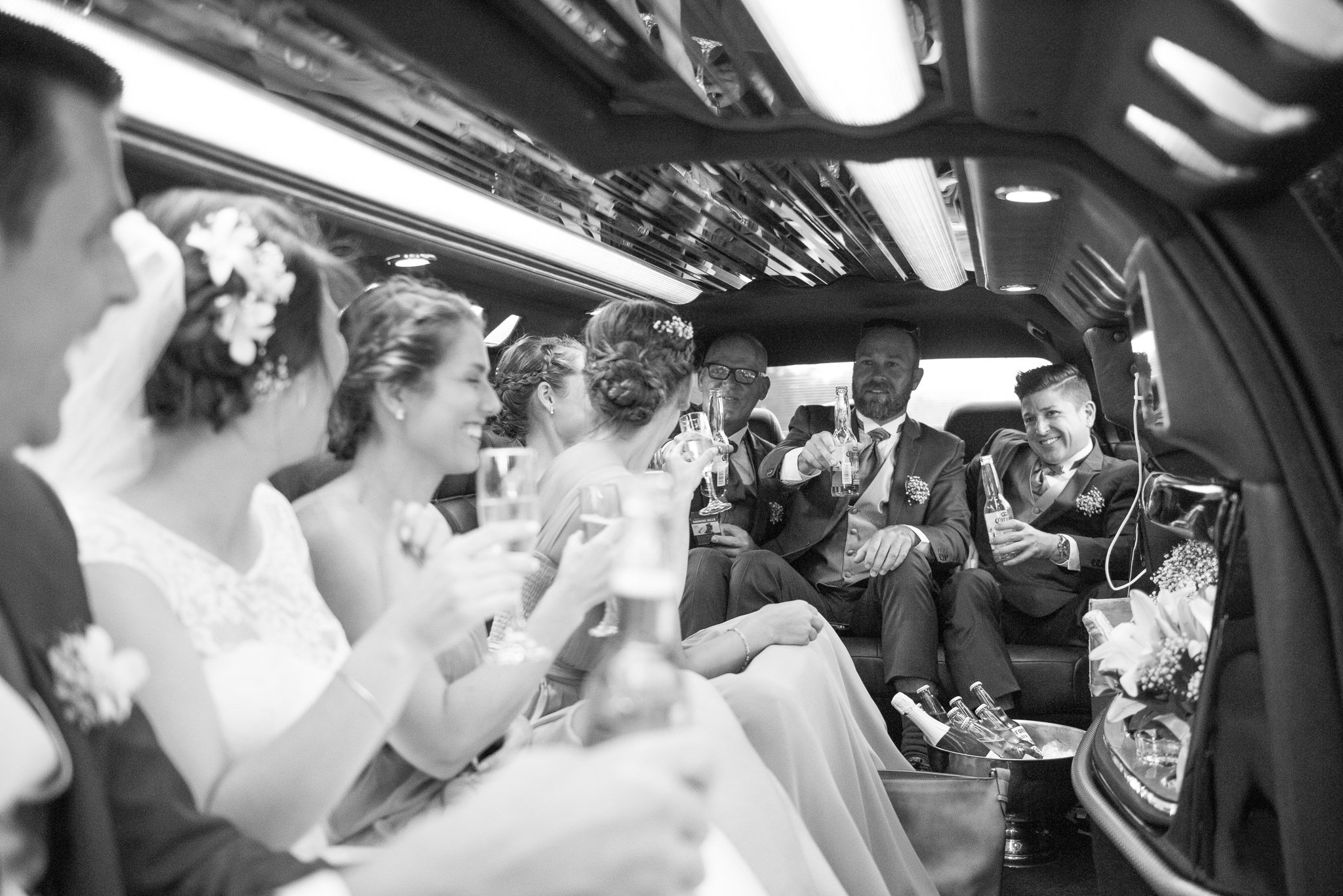 bridal party in the limo