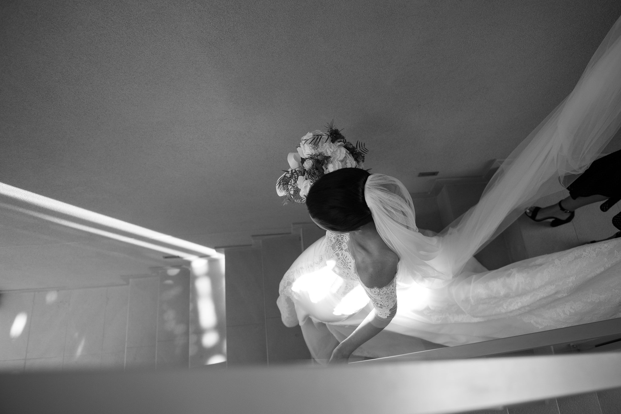 bride from above walking down stairs