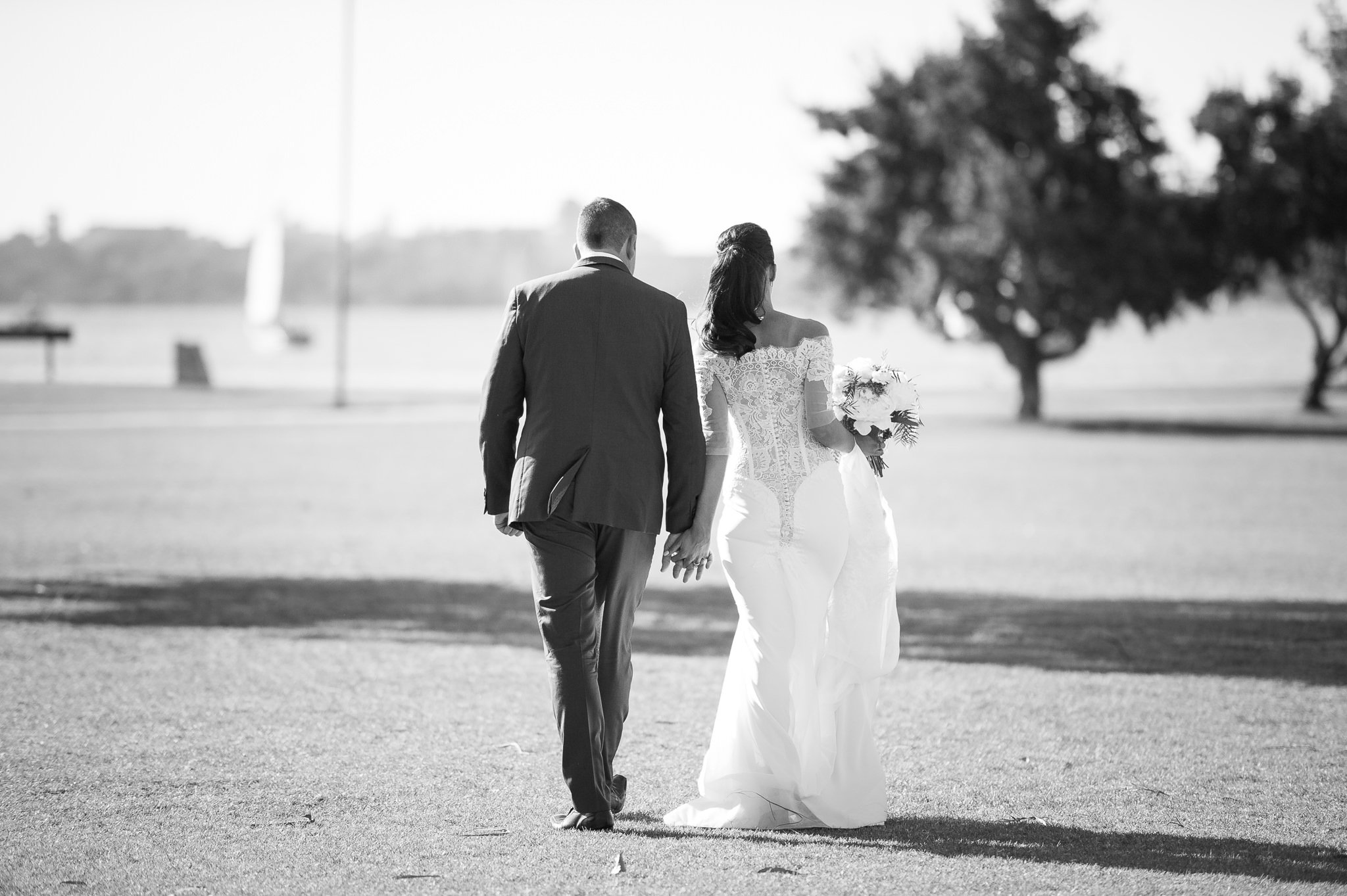 bride and groom at parklands by the swan river