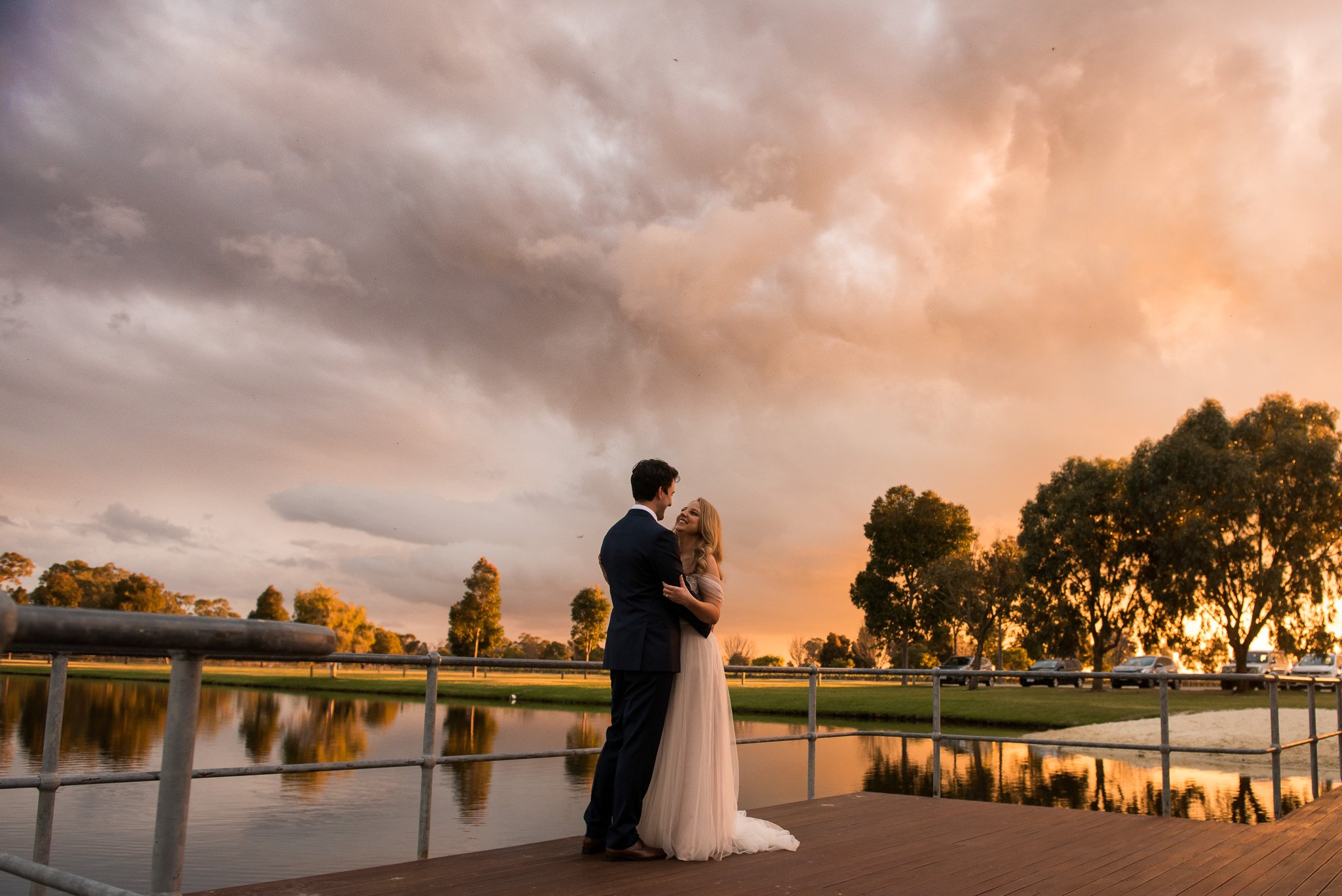 bride and groom in golden light