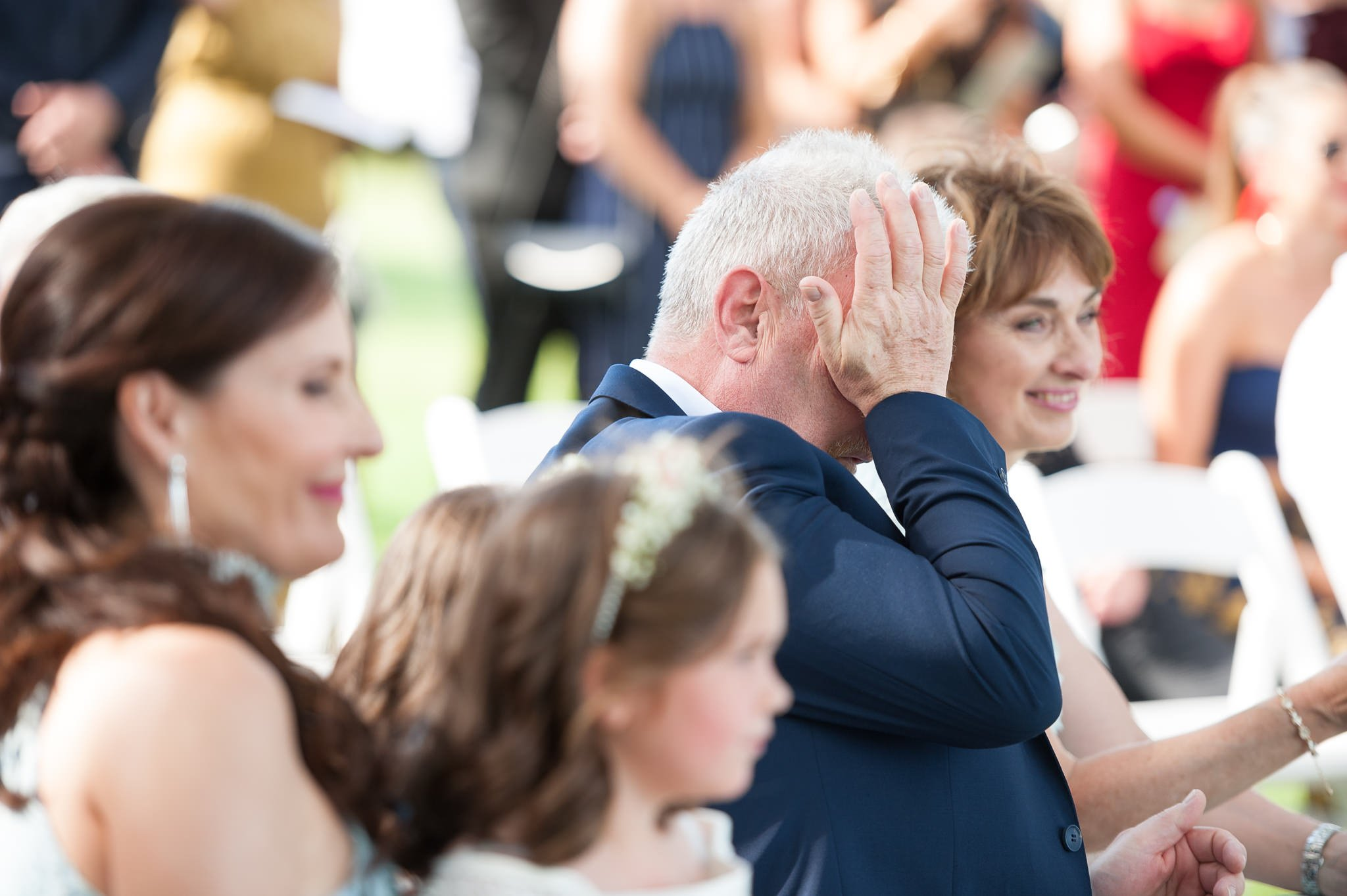 emotional dad at wedding ceremony