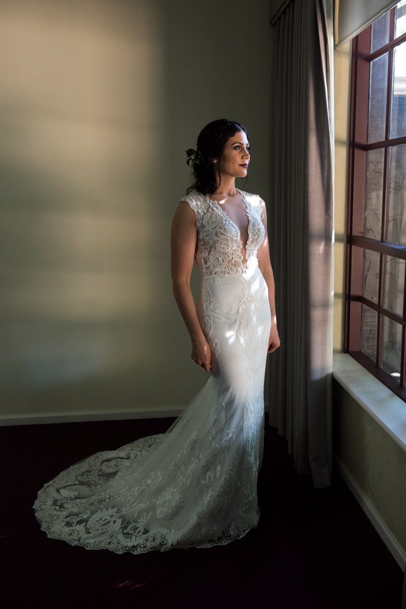 elegant bride by the window