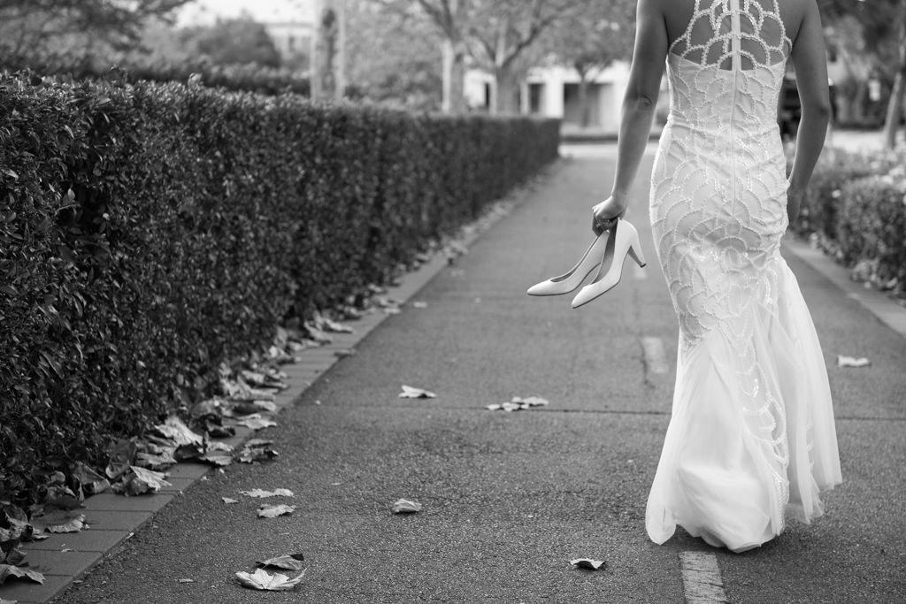 black and white bride walking