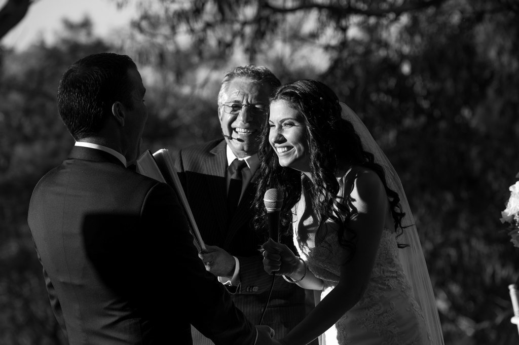 bride and celebrant laughing