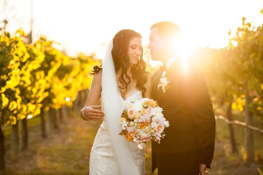 bride and groom in among the grapevines